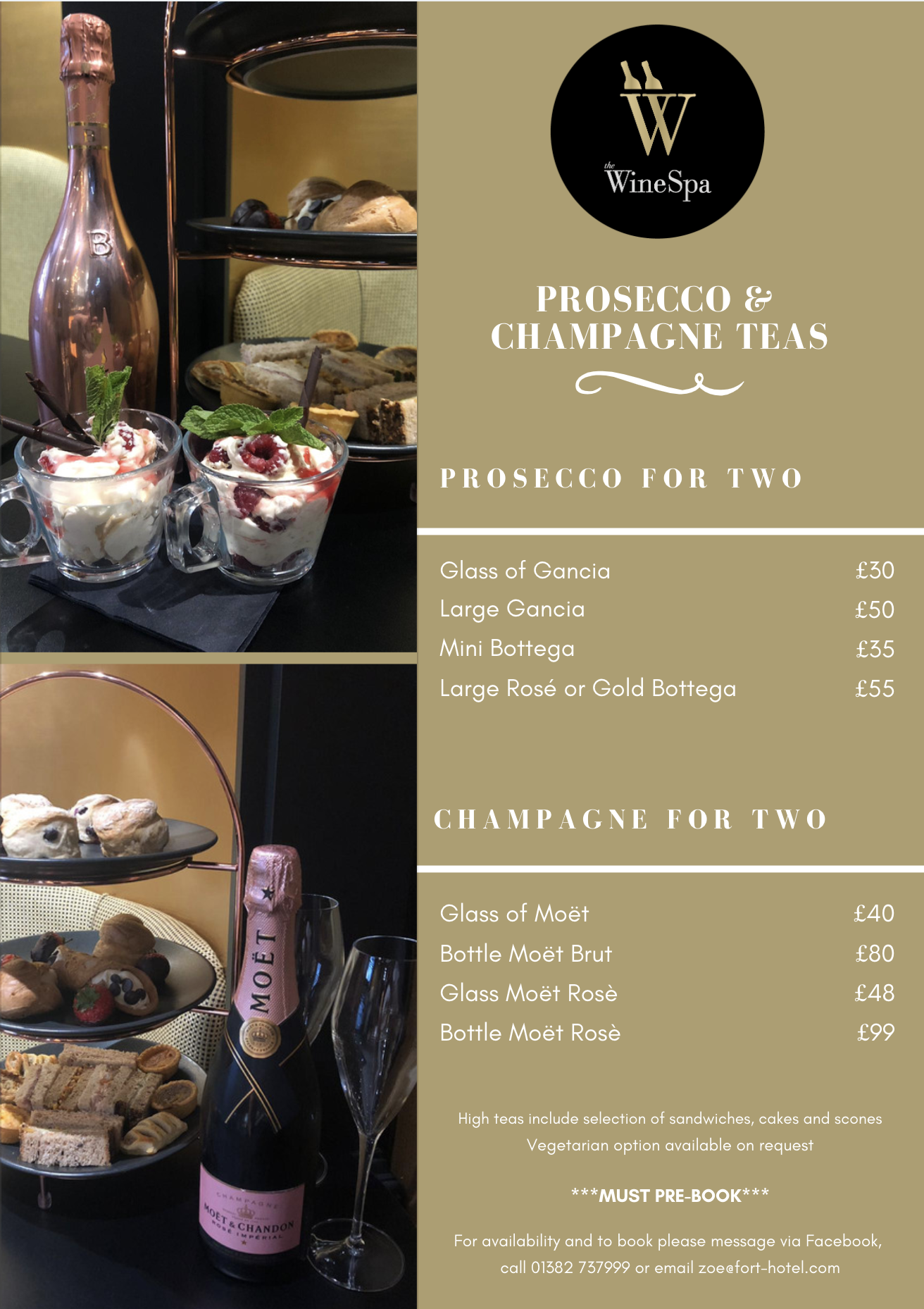 Prosecco & Antipasto Menu Wine Spa