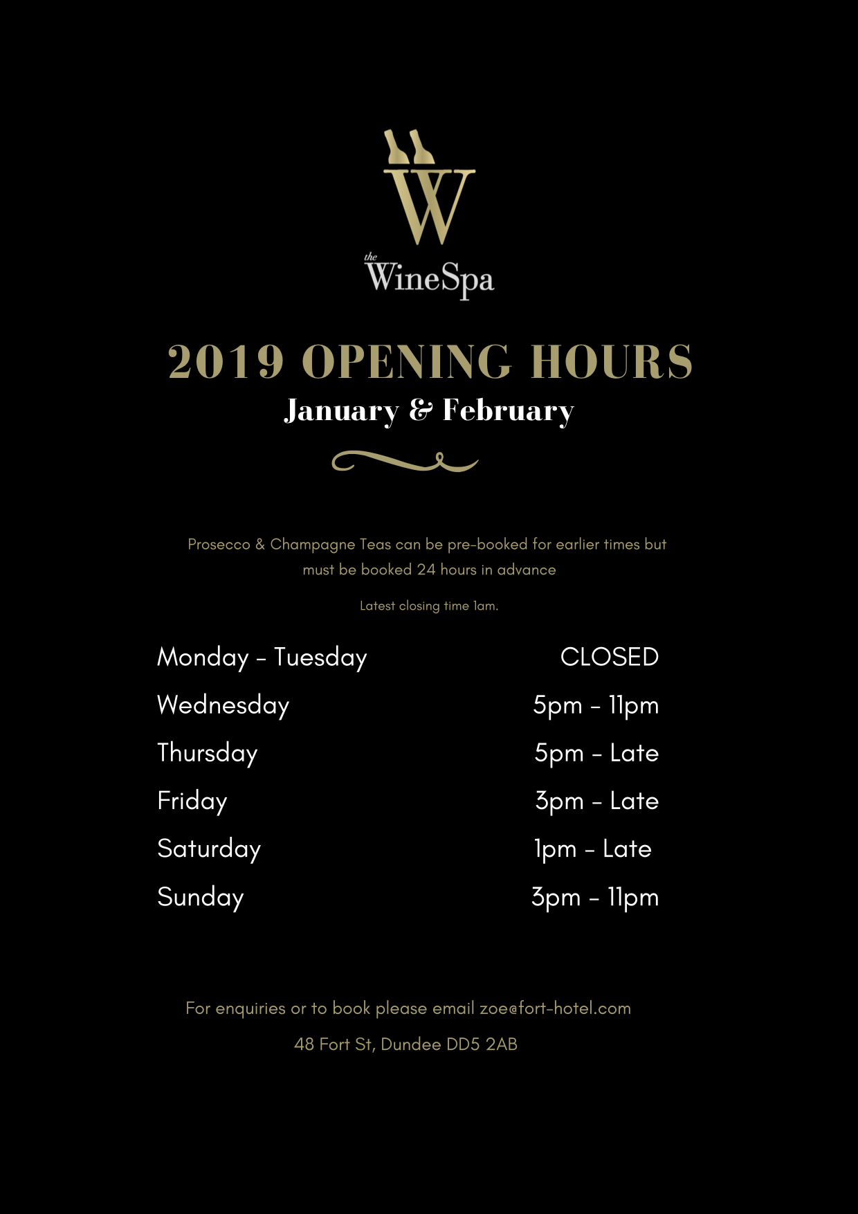 Wine Spa January an Feb opening times